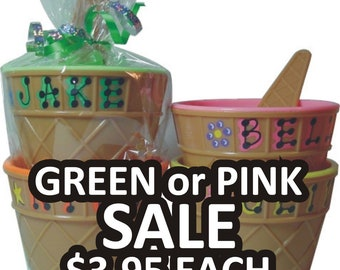 """PINK AND GREEN Ice Cream Bowl **Sale** Personalized Party Favor/ Ice Cream Bowl with Spoon / 4"""" wide x 2.5"""" tall / Ice Cream Dish"""
