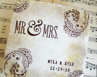 Mr. & Mrs. Wedding Coasters, Personalized Wedding Coasters, Gift for Couples,Stone Coasters,Antiqued Edges in Gold and Espresso