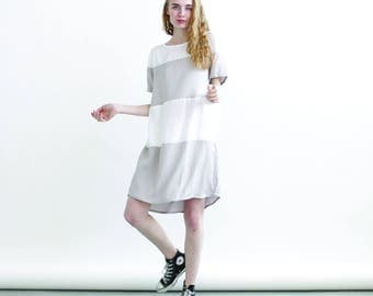 Summer Sale 30%  off Big Summer Sale Striped dress Grey and White