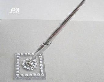 SILVER & BLING Pen -Elegant Wedding Guest Pen or Desktop Pen w/Clear Rhinestones