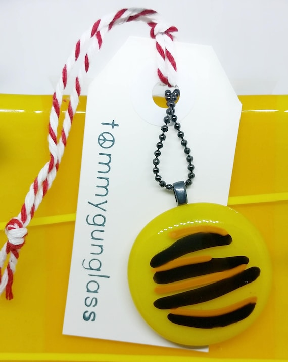 Yellow Striped Glass Pendant with Silver Chain