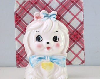 Lefton Toodles Maltese Dog Napkin/Letter Holder Vintage 1950s