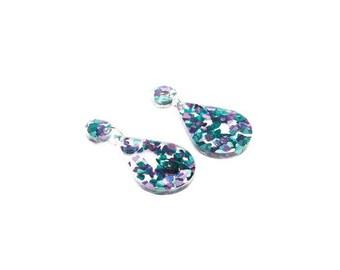 Laser cut tear drop glitter acrylic earrings - Blue and Purple Heart Glitter teardrop earrings - Hypoallergenic - Made in Australia