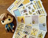 House Badger ~Hand-Drawn Harry Potter Inspired Weekly Sticker Kit For Erin Condren Vertical & EC Hardbound Planners