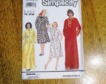 BOHO 1990's Belly Dance Caftan / Comfortable House Dress / Lounge Robe - All Sizes (Sm - Xxl) - UNCUT ff Sewing Pattern Simplicity 7030