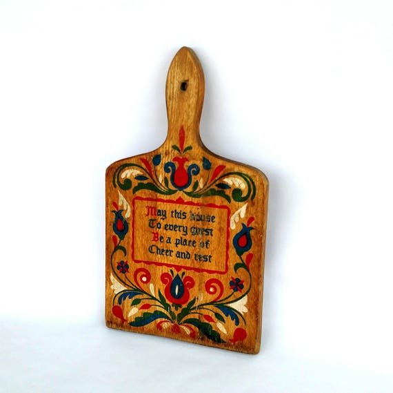 Vintage 1950's Decorative Wooden Cutting Board with Home Blessing and Swedish Folk Design