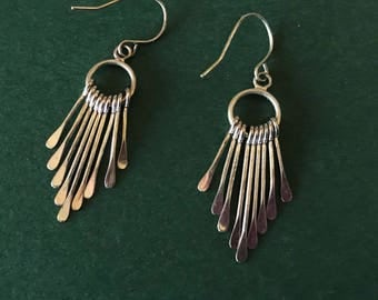 Native American Handmade Hammered Silvertone Dangle Pierced Earrings