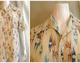 Vintage 1970s Mans Shirt Dripping Paint Print Abstract Print Disco Medium Butterfly Collar