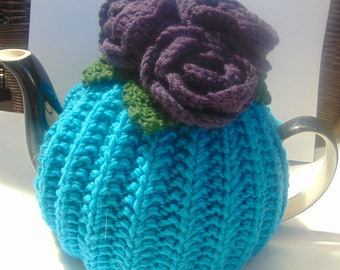 Hand Knitted FlowerTea Cosy 4-6 cup