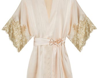 Tara Gilded Sleeve Silk Kimono Robe in Blush with Gold Lace - Style #R77