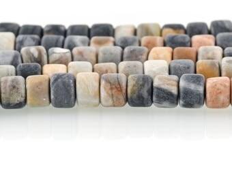 8mm Matte BLACK PICASSO JASPER Beads, Rondelle Wheel Beads, Natural Gemstones, full strand, 63 beads, gja0202