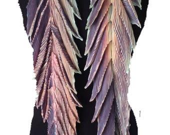 Arashi shibori pleated silk scarf. Dragon tail - Abalone