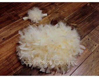 Ivory Feather Bloomer & Headband Set, Ivory Feather Tutu, Champagne Feather Bloomer, Newborn Girl Photo Outfit, Ivory Baby Girl Outfit