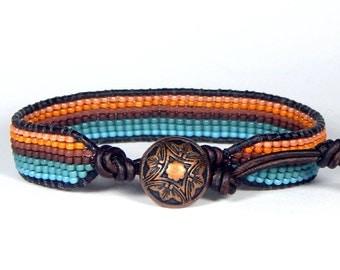 Bead Loom Bracelet Leather Wrap Bracelet Horizon Blue Turquoise Bracelet Boho Bracelet Bohemian Jewelry