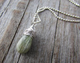 Green Kyanite Pendant necklace, small, simple, wire wrapped gemstone pendant
