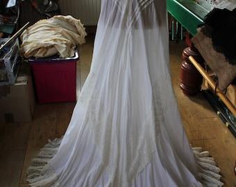 Edwardian Walking Skirt Petticoat Lace Cotton Lawn Summer Steampunk