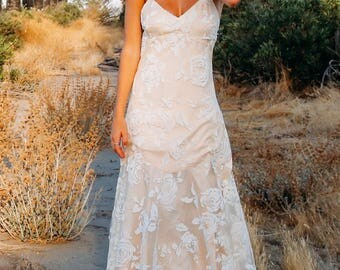 "Bohemian Floral Wedding Gown, Tulle Wedding Dress, Low Back Dress,  Criss Cross Straps  -""Sonje"""