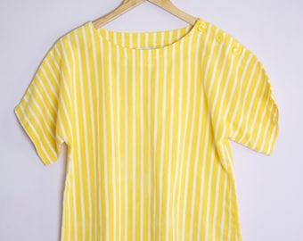 Vintage 1980's Yellow Stripe Button Sleeve Blouse M