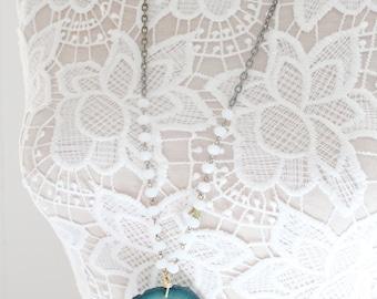 Blue Agate Necklace, Large Agate Slice Necklace, Stone Necklace, Geode Necklace, Tassel Necklace, Statement Necklace