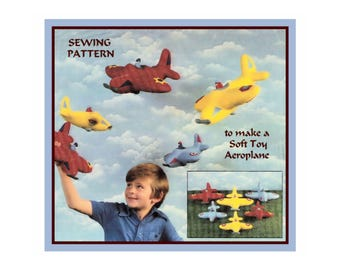 Instant Download PDF Full Size Printable Sewing Pattern to make a 10 by 12 inch Chubby Plane Aeroplane Airplane Bean Bag or Soft Toy