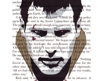 Blade Runner 'Deckard' Printed Illustration on Page from 'Do Androids Dream...'