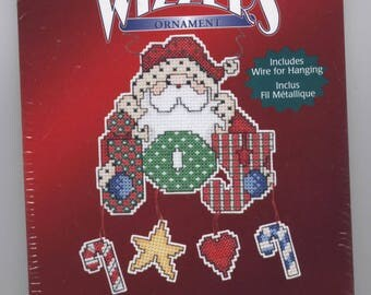 Santa Brings Joy Christmas Ornament Counted Cross-Stitch Kit with Hanger