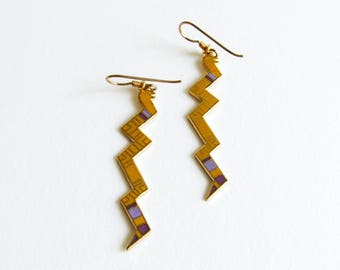 Vintage Laurel Burch Snake Long Enamel Dangle Earrings