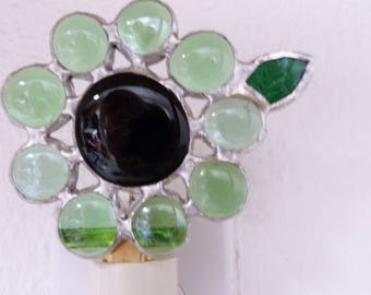 Night Light, Green Stained Glass Flower, Wall Plug In, On Off Switch, LED, Lead Free Solder, Floral, Bathroom, Bedroom, Women, Handmade