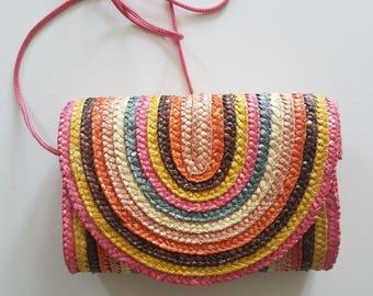 Vintage Colorful Straw Purse / Rainbow straw bag / Straw Clutch / Pink Straw Handbag / Basket bag / Structured Purse / Straw Shoulder bag