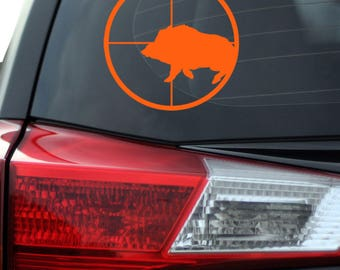 Hog Hunter - Hunting - Hog Hunter Decal - Hunting Decal - Hunting Vinyl Decal - Hunters Scope - Hog in Rifle Scope