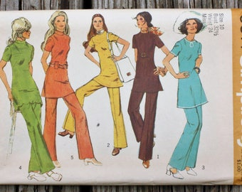 Simplicity 9514  1970s 70s Nehru Collar Scallops Scalloped Dress Tunic Pants Vintage Sewing Pattern Size 10 Bust 32.5