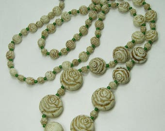 1920s Art Deco Czech Enameled Glass Necklace Max Neiger Roses Cream Green Beads