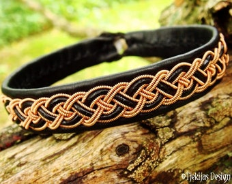 Sami Viking Bracelet NIFLHEIM for Men and Women in Black Leather decorated with Copper Braid