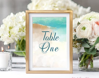 Reception Table Numbers, Printed Table Signs, Wedding Reception - Sand Dunes (Style 13596)