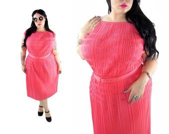 Plus Size 1960's Hot Pink Accordion Dress - Size XL - 2X