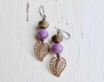 Dahlia - handmade artisan bead earrings in purple and bronze, with handmade polymer dahlia discs, vintage rounds and leaves  - Songbead UK