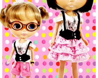 Clearance Sale - YAN - Pink Layered Cake Skirt for Blythe doll