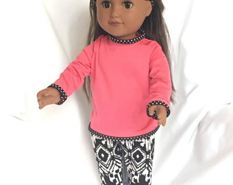 """18"""" Doll Hot Pink and Black Trendy Sporty Outfit"""