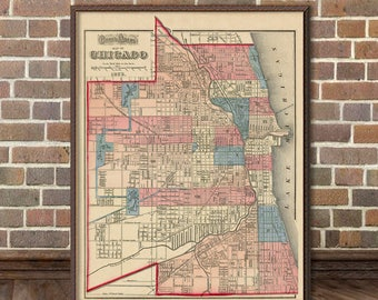 Vintage map of Chicago  - Old map archival reproduction - Chicago map from 1873