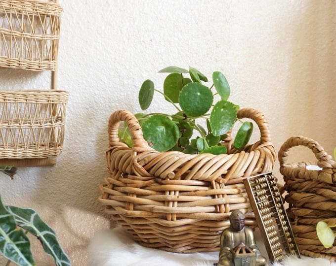 Woven Wicker Coiled Basket with Handles