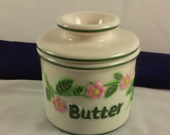 Soft Butter Dish, L Tremain Butter Bell Crock, Beurre Butter Crock, Floral Ceramic Butter Dish
