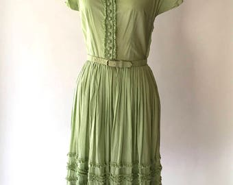 vintage 1950s dress / 50s celery green cotton dress / size small