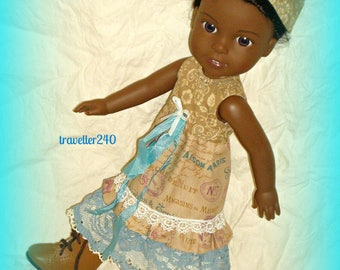 "Mori Girl Style!  Handmade Doll Clothes, for 14.5"" Doll such as Wellie Wishers by American Girl, Dress, Underskirt, Hat by traveller240"