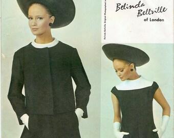 Chic Mod Uncut Vintage 1960s Vogue Couturier Design 1795 Designer Belinda Bellville A Line Yoked Dress and Jacket Sewing Pattern B34
