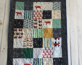 Organic Patchwork Crib Quilt - Organic Cottons and Hand Dyed Organic Indigo Blue - Rhinos and Friends Quilt
