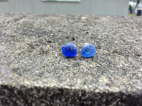 Surf Tumbled Cobalt Blue Seaglass Stud Earrings, 100% of this sale goes towards FUNDRAISING 4 MALU