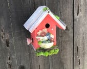 Whimsical Birdhouse Unique Wooden Patio Bird's House For Garden Birds, Handmade Decorative Artistic Birdhouses, Item #522332736