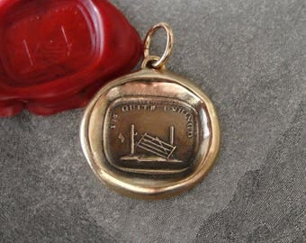 Garden Gate Wax Seal Charm - I'm Quite Unhinged - antique wax seal jewelry pendant by RQP Studio