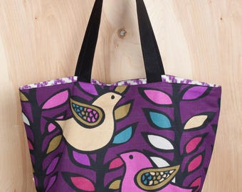Love Doves Tote Bag- Purple Birds Tote Bag- Cotton Tote- by beckyzimmdesign
