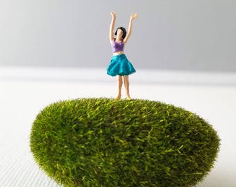 Miniature World Terrarium People Tiny Woman Celebrating Party Skirt Crop Top Summer HO Scale Hand painted One of a Kind Railroad Figure